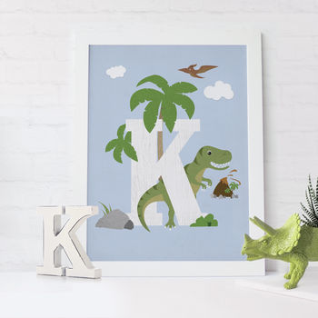 Personalised Dinosaur Childs Initial Print