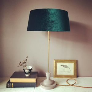 Green Velvet Deco Lamp - table lamps