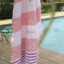 Personalised Pink Stripe Hammam Towel