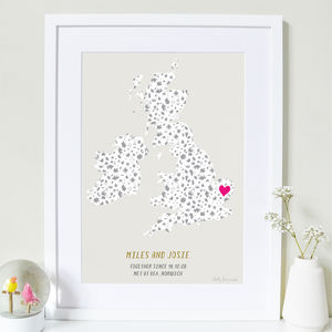 Personalised Couples Love Map Print