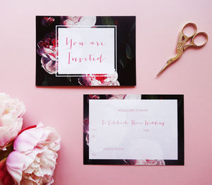 Write Your Own Modern Floral Wedding Invitations