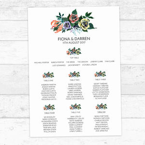 Summer Floral Personalised Table Plan