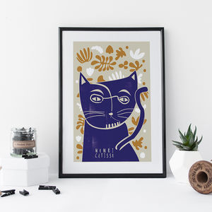 'Henri Catisse' Cat Print - drawings & illustrations