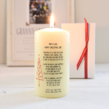 Personalised Christmas Candle With Verse