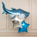 Inflated Personalised Shark Birthday Balloon Bunch