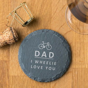 Personalised Cycling Pun Natural Slate Coaster - placemats & coasters