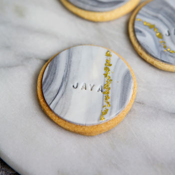 Set Of Six Personalised Marble Gold Leaf Biscuits