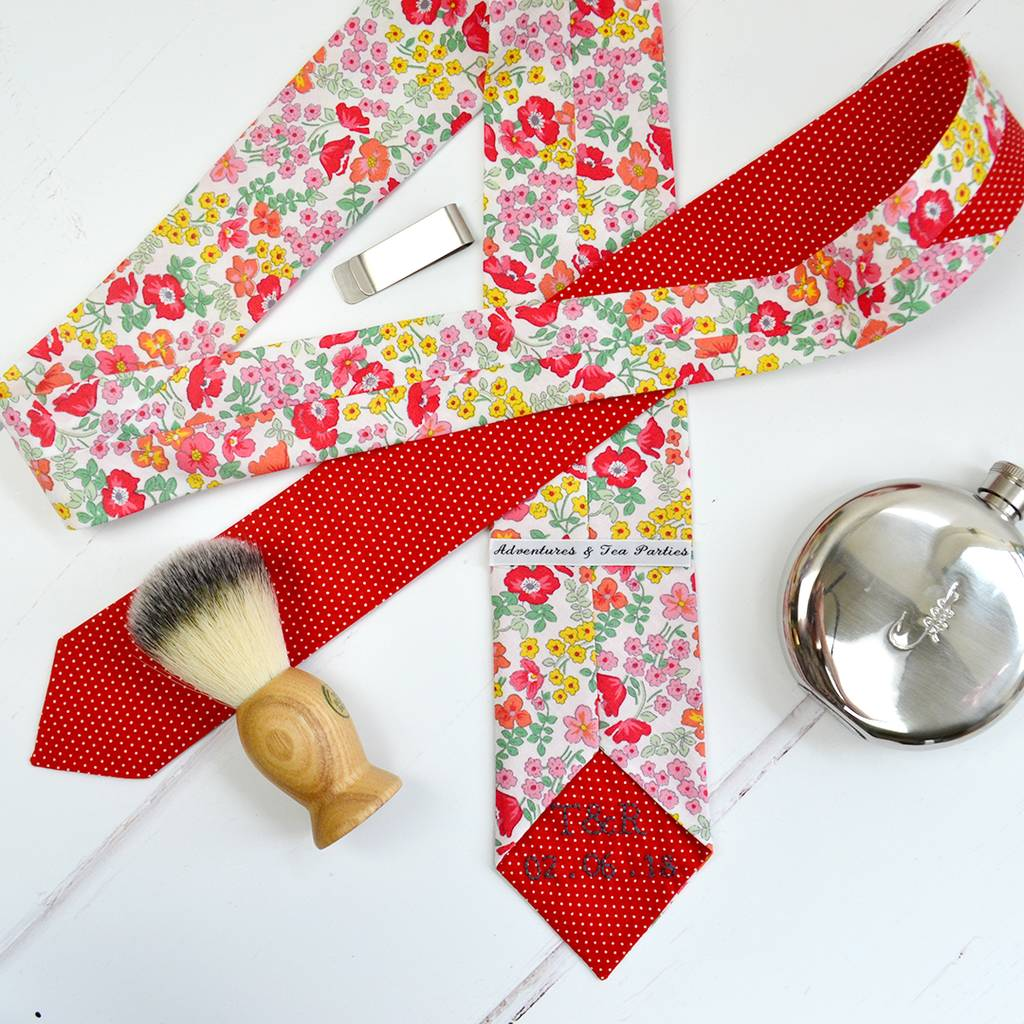 Handmade Mix And Match Personalised Tie: Red Rose