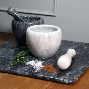 Marble Curved Pestle And Mortar