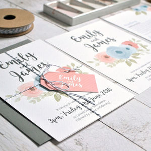Watercolour Floral Wedding Invitation - invitations