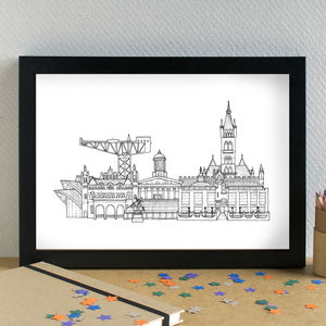 Glasgow Landmarks Skyline Art Print - maps & locations