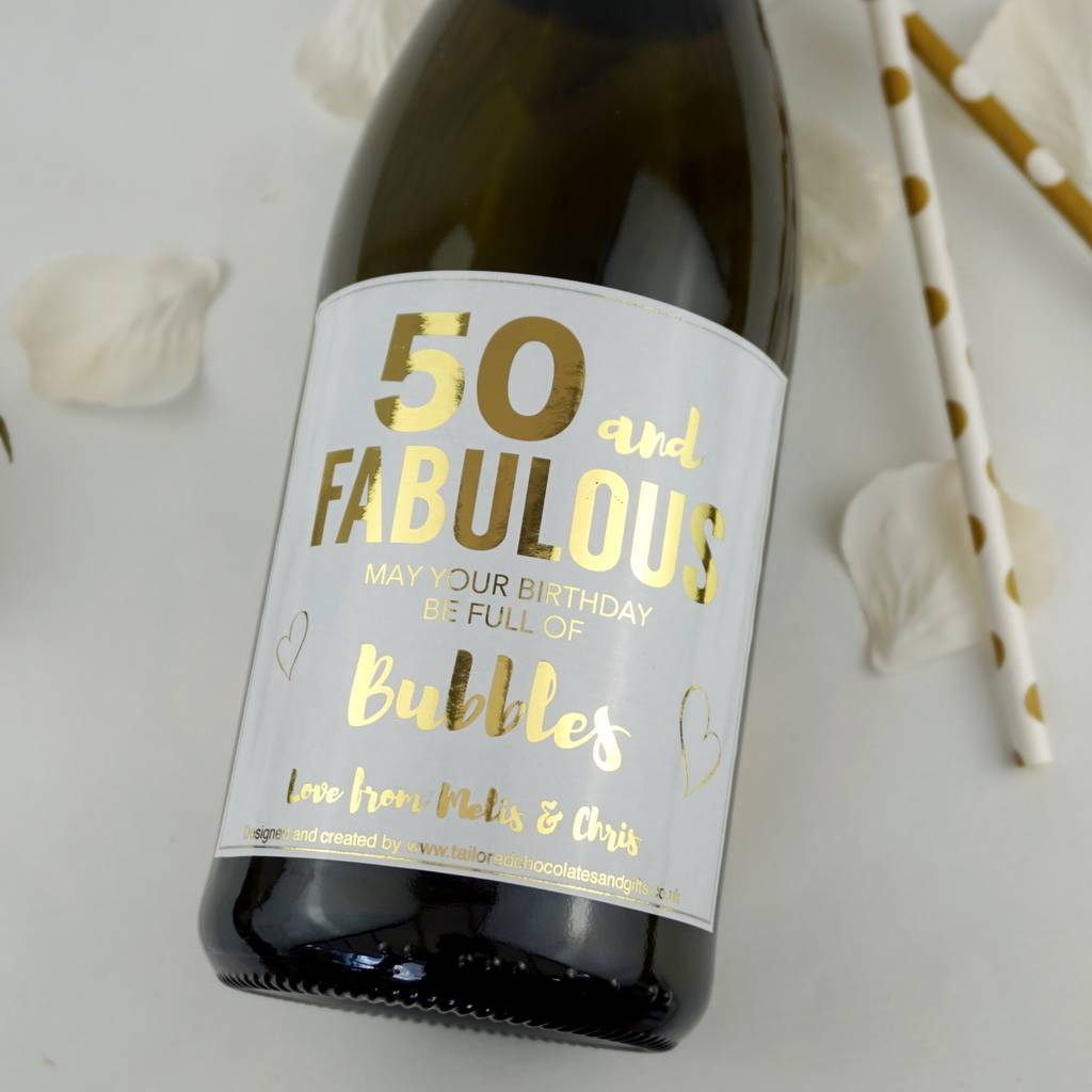 50 And Fabulous Champagne/Prosecco Label