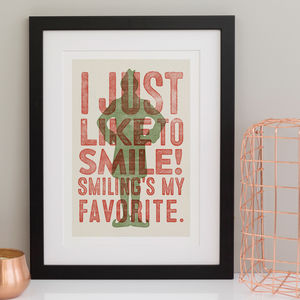 Buddy The Elf Sayings Print Smiling's My Favourite
