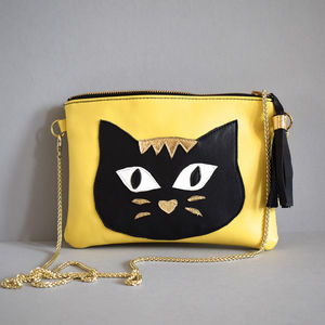 Cat Leather Bag - clutch bags