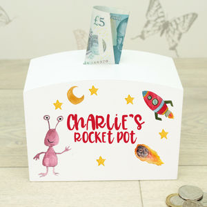 Personalised White Wooden Boys Rocket Money Box