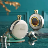 Engraved Round Hip Flask Limited Edition - garden