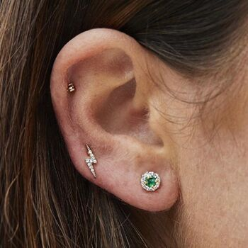14k Gold Vermeil Emerald And Cz Stud Earrings