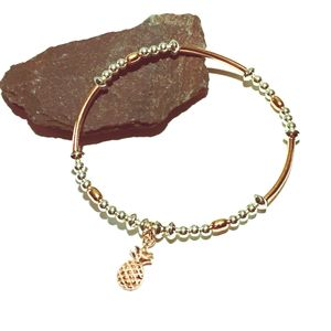Sterling Silver And Rose Gold Pineapple Charm Bracelet - bracelets & bangles