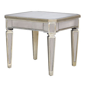 Antiqued Mirrored Venetian Side Table - furniture
