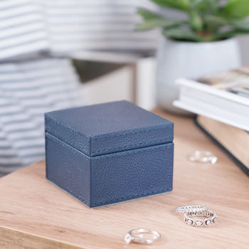 Personalised Square Leather Ring Box Ink Blue