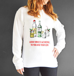 'Good Tonics We Bring' Christmas Jumper - christmas jumpers