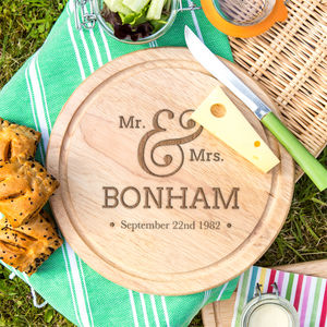 Personalised Mr And Mrs Wedding Date Round Bread Board - cheese boards & knives