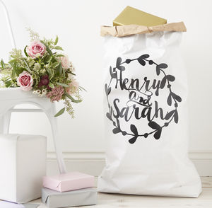 Personalised Wreath Wedding Gift Sack - winter styling