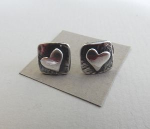 Square Silver Heart Earrings