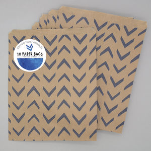 Retro Kraft Party Bags Packs Of 10 In Various Colours