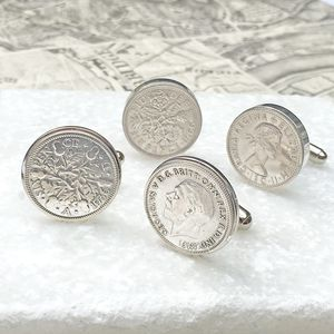 Any Date Lucky Sixpence Cufflinks - 80th birthday gifts