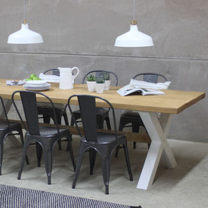 King's Cross Oak Dining Table With X Frame - kitchen