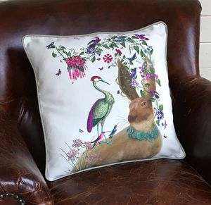 Woodland Hare And Heron Decorative Cushion