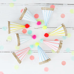 Colourful Neon And Gold Mini Party Hats - party hats & poppers