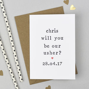 Personalised 'Will You Be Our Usher?' Card