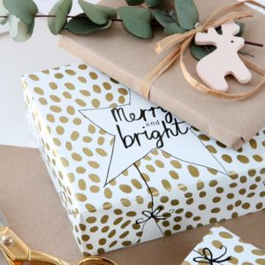 Merry And Bright Christmas Gift Wrap Set