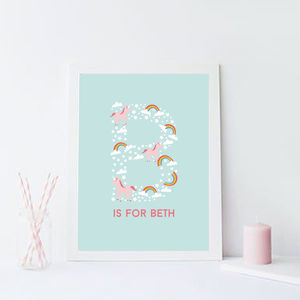 Unicorn Initial Personalised Children's Print