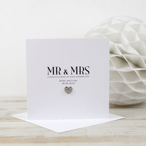 Crystal Heart Wedding Card