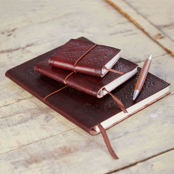 Handmade Chocolate Embossed Leather Notebook