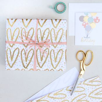 Gold Hearts Wrapping Paper