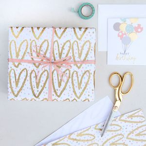 Gold Hearts Glitter Wrapping Paper - new baby cards