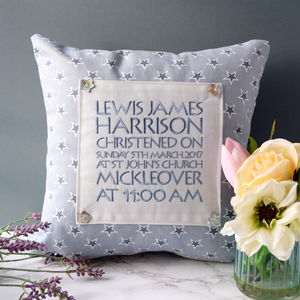 Personalised Birth Or Christening Cushion - embroidered & beaded cushions