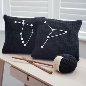 Personalised Star Sign Cushion Cover Knitting Kit - modern craft