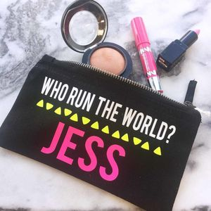 Personalised 'Who Runs The World' Make Up Bag - make-up bags