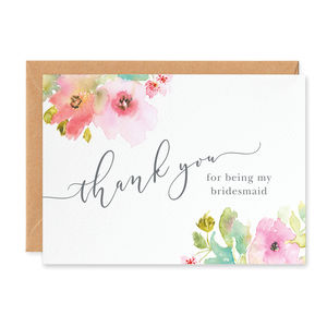 Juliette 'Thank You For Being My Bridesmaid' Card - wedding thank you gifts