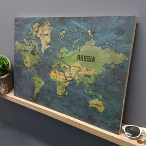 Colourful World Map Print On Wood - posters & prints