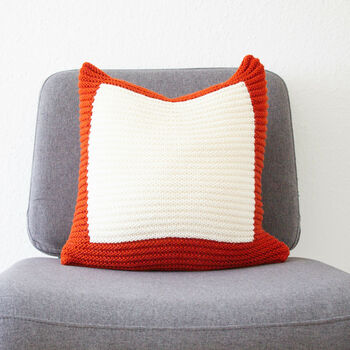Hand Knit Colourblock Cushion In Rust And Ivory