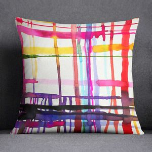 Abstract Geometric Lines Watercolour Cushion