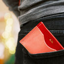 Colour Block Leather Card Wallet