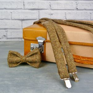 Birdseye Tweed Bow Tie And Braces - ties & tie clips