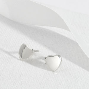 Bevelled Edge Sterling Silver Everyday Heart Studs
